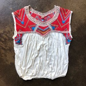 Free People Boho Embellished Top, S
